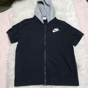 Boys Black Nike Short Sleeve Zip-up Hoodie sz L